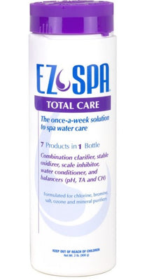 """EZ Spa"" is in blue capitalized letters.  The brand logo is a purple swirl, tear drop between ""EZ"" and ""Spa"".  A purple stripe centers below ""EZ Spa"" and  says ""Total Care"" in white lettering. Below the stripe, blue and purple lettering states this product can be used once a week as a clarifier, stable oxidizer, scale inhibitor, conditioner and balancer. The remaining blue text says this product is formulated for various types of purifiers.  Finally, a warning in blue text is at the bottom of the bottle."
