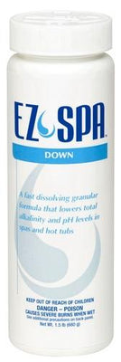 """EZ Spa Down"" is a white, cylinder bottle.  The top part of the bottle says in blue, capital letters ""EZ Spa"" with the brand logo in a pale, blue swirling tear drop shape between ""EZ"" and ""Spa"".  A sky blue  stripe centers below ""EZ Spa"" and  says ""Down"" in white, capital letters. Below the stripe, the same color font reads, ""A fast dissolving granular formula that lowers total alkalinity and pH levels in spas and hot tubs"".  The remaining space of the bottle has a large, bold, blue text for a warning."