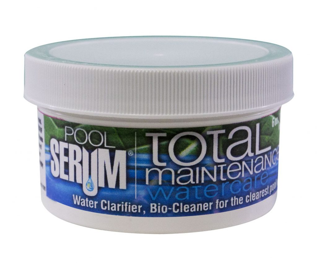 "SERUM Pool Total Maintenance is a round, white container and contains six ounces of product.   The label's background has green leaf veins on top; the bottom half is solid purple. The left side of the front label says ""Pool Serum"" in bold, white font with ""Total Maintenance"" on the right.  ""Water care"" is in light blue beneath ""Total Maintenance"".  Below this, white lettering reads ""water clarifier, bio cleaner for the clearest pool""."