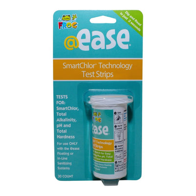 "Smartchlor Technology test strips are made by @ease, packaged in a white bottle and contain thirty test strips.  The backing board is aqua with the test strip bottle packaged in clear plastic.  The FROG logo in the upper left corner, ""dip and read in two seconds"" in the upper right corner and their ""@ease"" logo is centered on the backer board.  An orange stripe below the above wording says ""Smartchlor Teststrips Technology"" in white.  These strips test Smartchlor, total alkalinity, pH and total hardness."