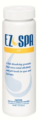 """EZ Spa Total Care"" is a white, cylinder bottle. ""EZ Spa"" is in blue capitalized letters.  The brand logo is a yellow swirl, tear drop between ""EZ"" and ""Spa"".  A yellow stripe centers below ""EZ Spa"" and  says ""Up"" in white lettering. Below the yellow stripe, blue lettering states this product is ""a fast dissolving granular that raises total alkalinity and pH levels in spas and hot tubs. The remaining blue text gives a caution for children."