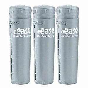 "The FROG @Ease In Line SmartChlor Cartridge is a single, gray, cylinder shaped bottle.  The top of the cylinder has small, vertical protrusions around the cap for twisting.  The gray cylinder says ""@ease smartchlor cartridge"" "" in white lettering.  The gray cylinder has linear, vertical holes down the side for slow dissemination of the smartchlor. Inside the cylinder are the smartchlor contents.  There are three of these identical, gray, cartridges standing vertically side by side."