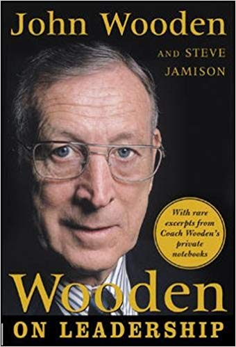 The book cover for Wooden on Leadership by John Wooden and Steve Jamison