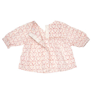 Popover Top - Pink Hearts