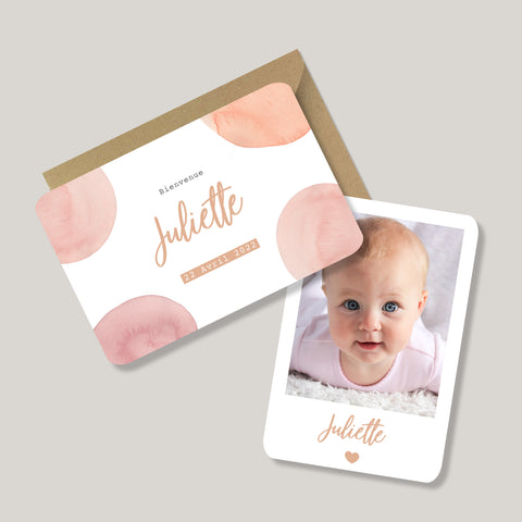 FAIRE-PART DE NAISSANCE 'ALEXANNE' AQUARELLE ROSE ORANGE - SEVEN PAPER