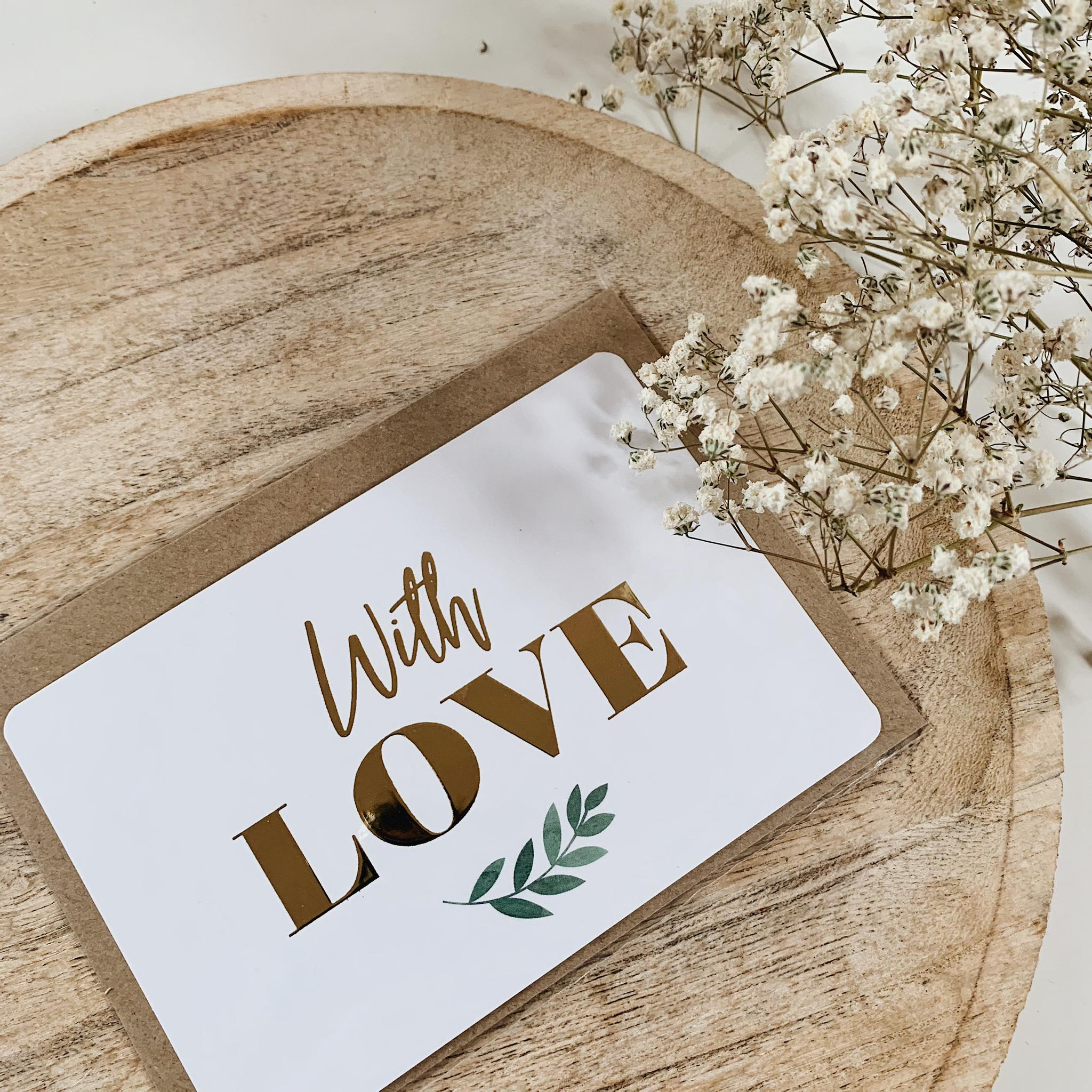 "CARTE DE VOEUX ""WITH LOVE"" GOLD - SEVEN PAPER"