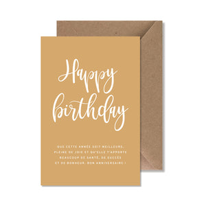 "CARTE DE VOEUX ""HAPPY BIRTHDAY"" JAUNE - SEVEN PAPER"