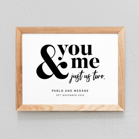POSTER À PERSONNALISER CHAMBRE COUPLE 'YOU & ME, JUST US TWO' - SEVEN PAPER