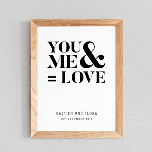 POSTER À PERSONNALISER CHAMBRE COUPLE 'YOU AND ME = LOVE' - SEVEN PAPER