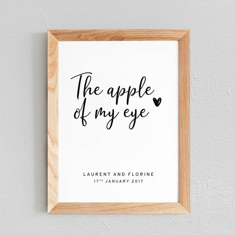 POSTER À PERSONNALISER CHAMBRE COUPLE 'THE APPLE OF MY EYE' - SEVEN PAPER
