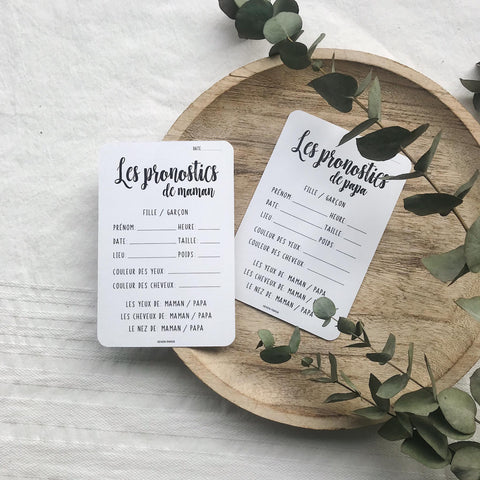2 CARTES NAISSANCE 'LES PRONOSTICS' FUTURS PARENTS - SEVEN PAPER