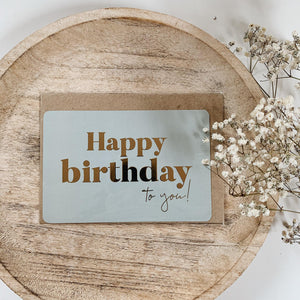 "CARTE DE VOEUX ""HAPPY BIRTHDAY TO YOU"" GOLD"