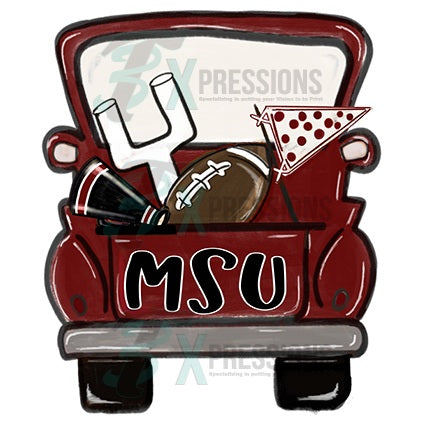 Personalized Maroon football truck - bling3t