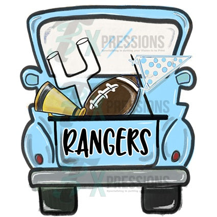 Personalized Baby Blue football truck - bling3t