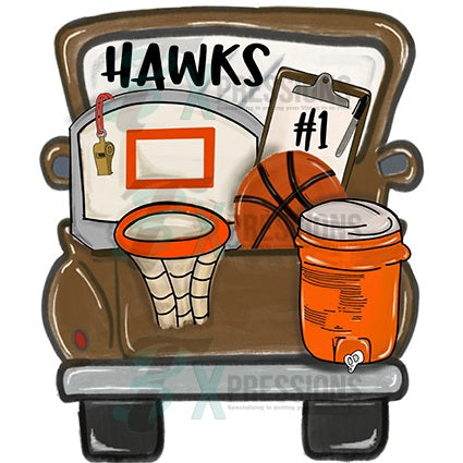Personalized Brown Basketball Truck - bling3t