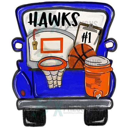 Personalized Blue Basketball Truck - bling3t