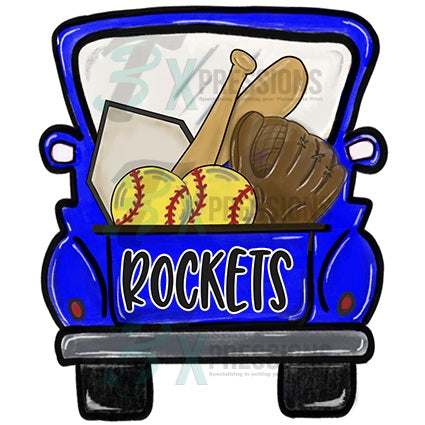 Personalized Blue Softball Truck - bling3t