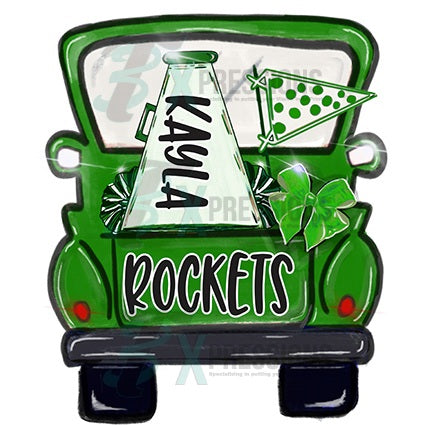 Personalized green Cheer Truck - bling3t