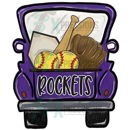 Personalized Purple Softball Truck - bling3t