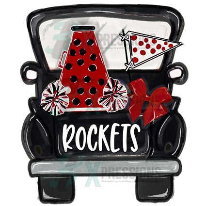 Personalized Black and Red Polkadot Mega Phone Cheer Truck - bling3t