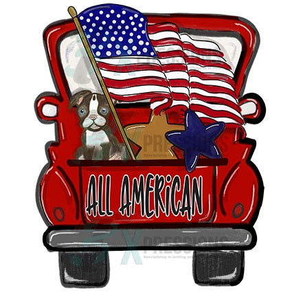 Personalized Red All American Truck - Bling3t