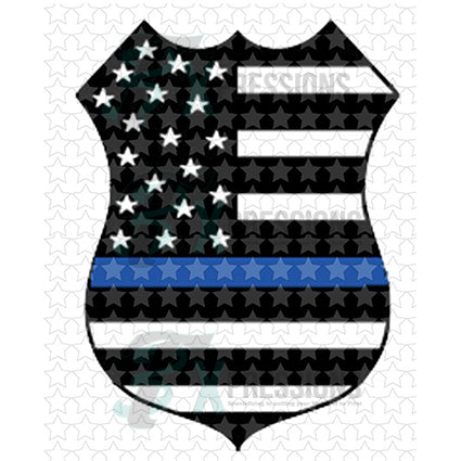 Blue Line Flag Badge - bling3t