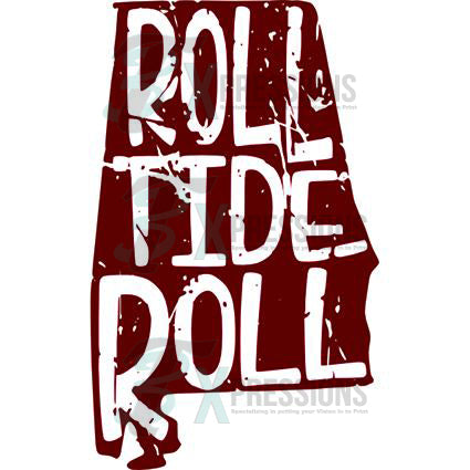 Roll Tide state outline - bling3t