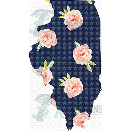 Illinois Navy Floral - bling3t