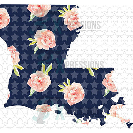 Louisiana Navy Floral - bling3t