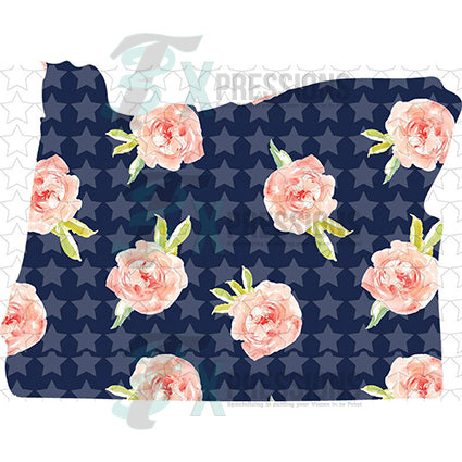 Oregon Navy Floral - bling3t