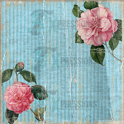 Blue Lined Paper with Flower Backdrop