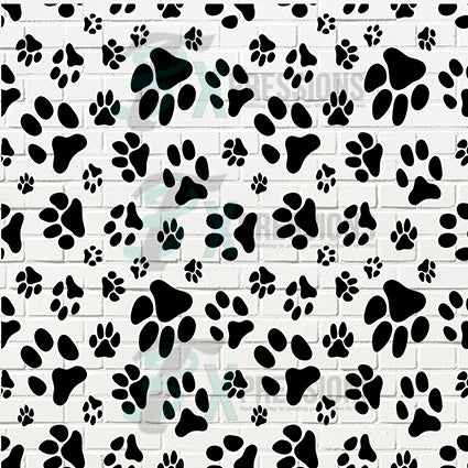 White Brock Paw Print Backdrop