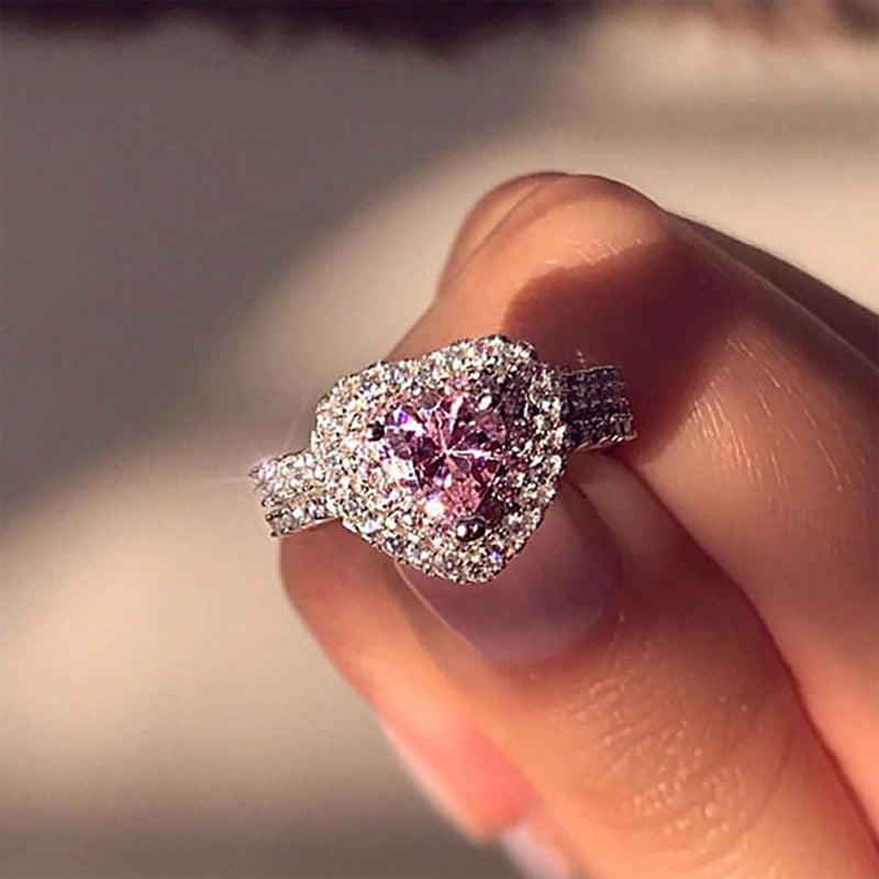 Cute Pink Crystal Halo Heart Ring Graduation Engagement Promise Fashion Jewelry for Women for Teens Girls - www.Jewolite.com