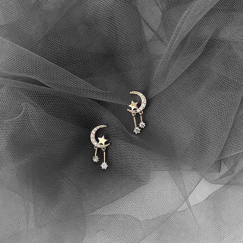 Cute Small Heart Moon Gold Dangle Earring Studs Fashion Jewelry for Women - www.Jewolite.com