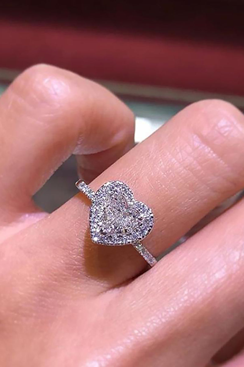 Unique Heart Ring Cute Engagement Promise Graduation Wedding Rings Crystal Diamond Fashion Statement Jewelry (www.Jewolite.com) #rings