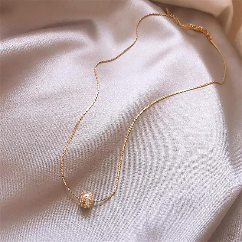 Cute Small Crystal Bead Gold Chain Choker Necklace - www.Jewolite.com #necklaces