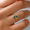 Cute Green Emerald Crystal Halo Halo Gold Ring Fashion Jewelry for Women - www.Jewolite.com #rings  Edit alt text