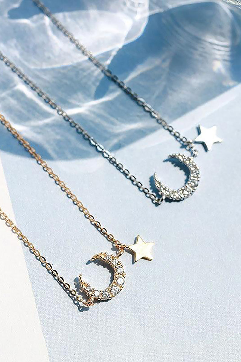 Cute Crystal Moon Star Dangle Chain Necklace Dainty Jewelry in Gold or Silver - www.Jewolite.com Edit alt text