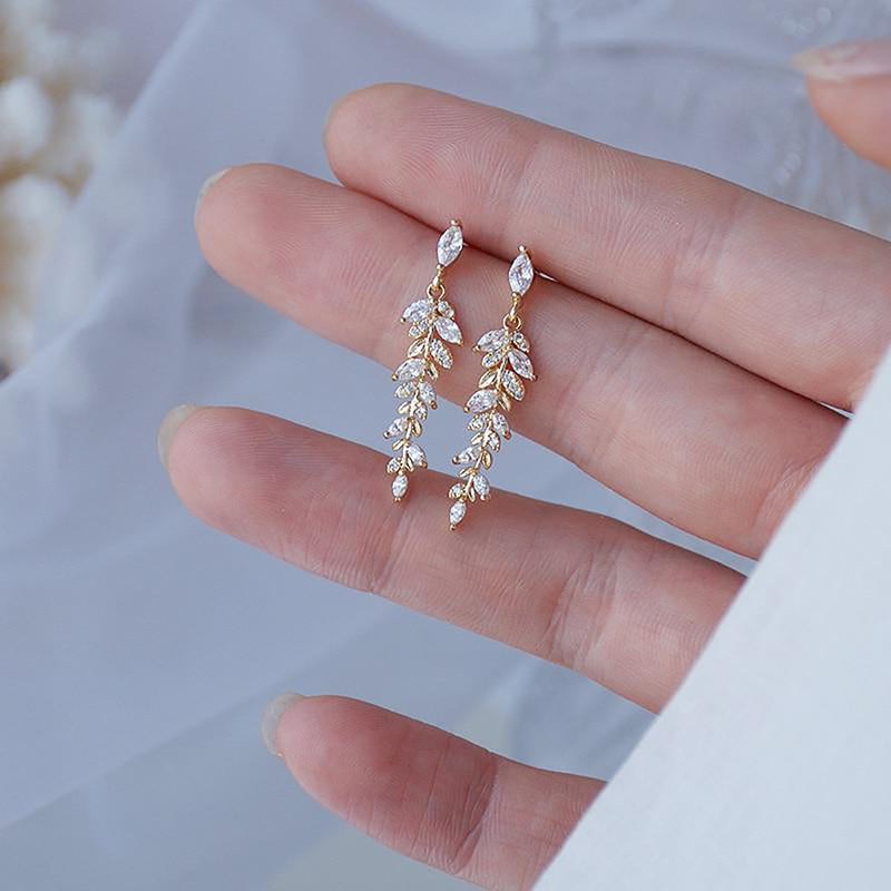Cute Crystal Leaf Dangle Gold Drop Earrings Classy Fashion Jewelry for Women - www.Jewolite.com \  Edit alt text