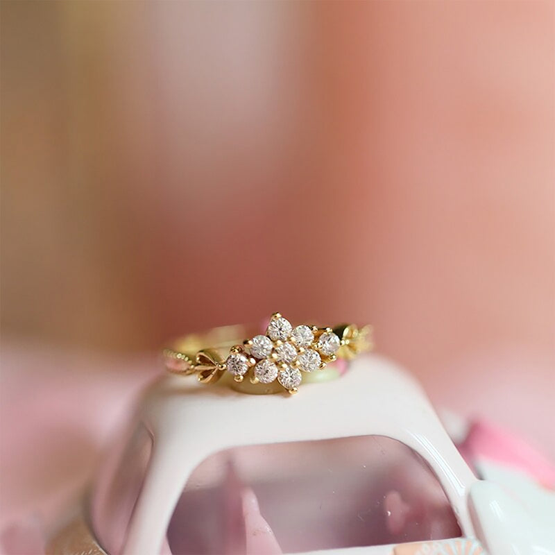 Cute Simple Vintage Flower Gold Promise Graduation Wedding Engagement Ring Women Fashion Jewelry - www.Jewolite.com #rings  Edit alt text