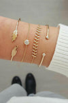 Cute Summer Feather Bangle Chain Stacked Boho Gold Bracelet Set Fashion Jewelry for Women for Teen Girls - conjunto de pulsera de oro - www.Jewolite.com