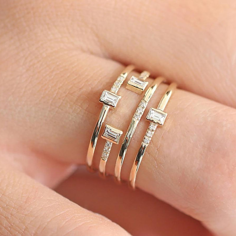Cute Rectangle Layered Trending Artistic Ring Fashion Jewelry for Women - anillo en capas - www.Jewolite.com