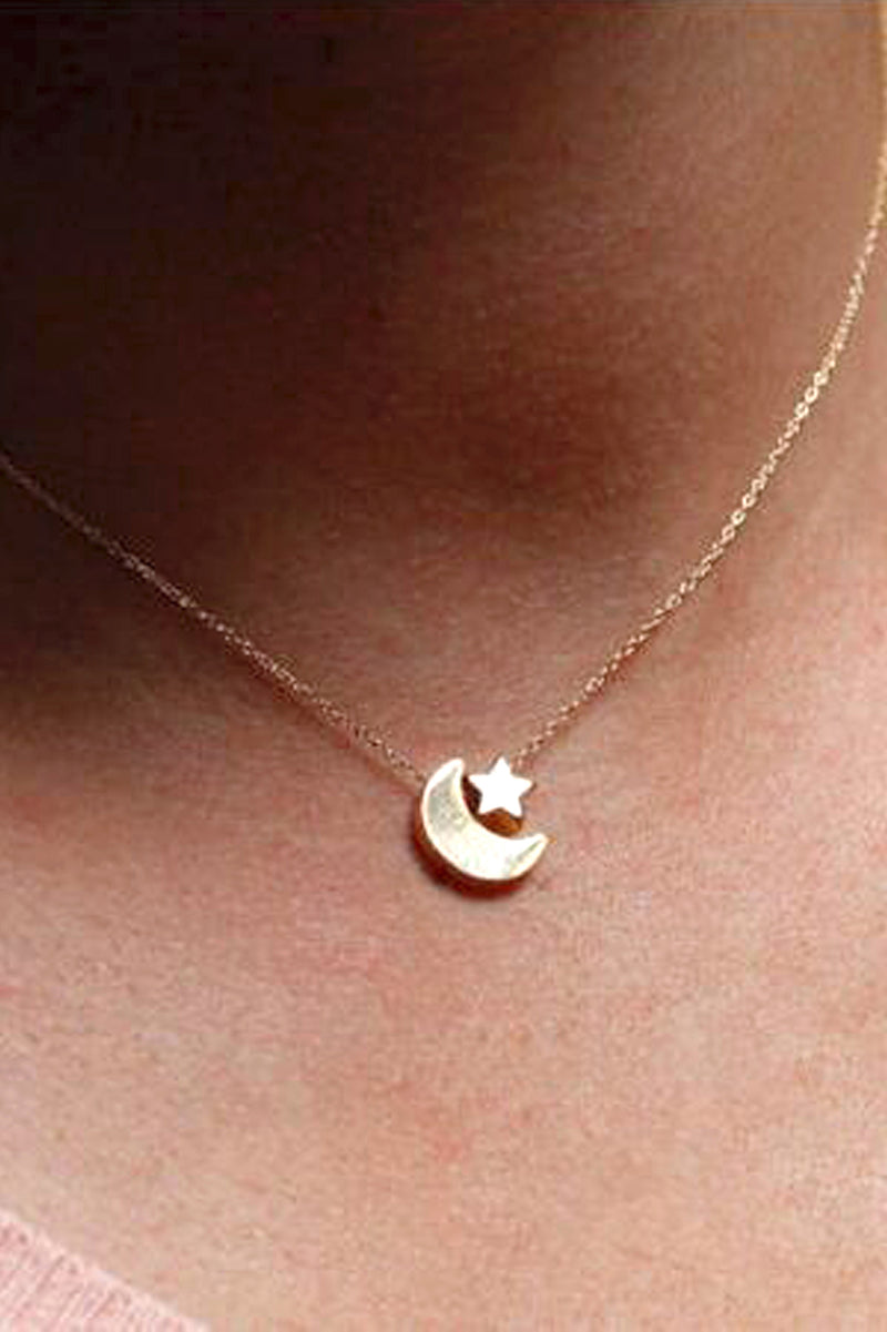 Cute Simple Moon Star Dainty Pendant Necklace for Teens for Women lindo collar de luna estrella simple para las mujeres (www.Jewolite.com) #necklaces  Edit alt text