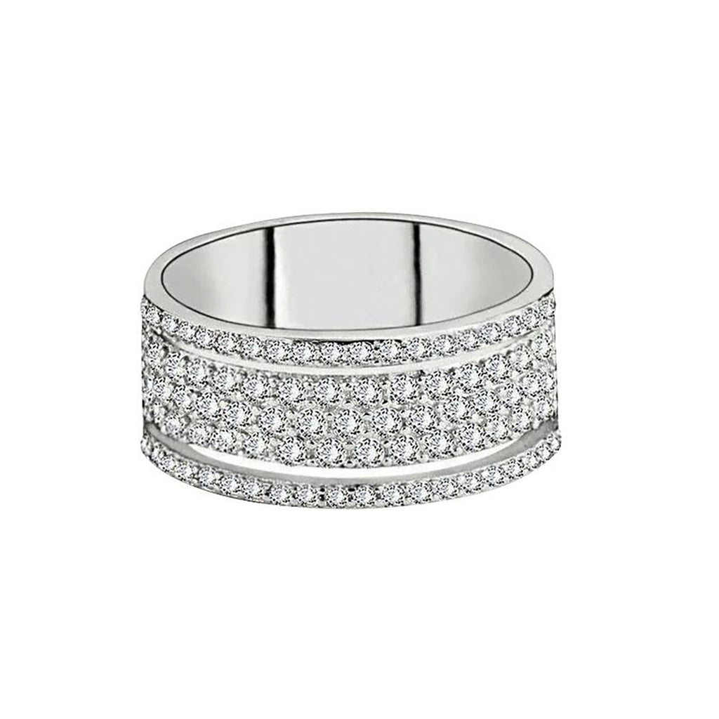 Cute Trending Crystal Pave Band Fashion Ring in Silver - www.Jewolite.com #rings