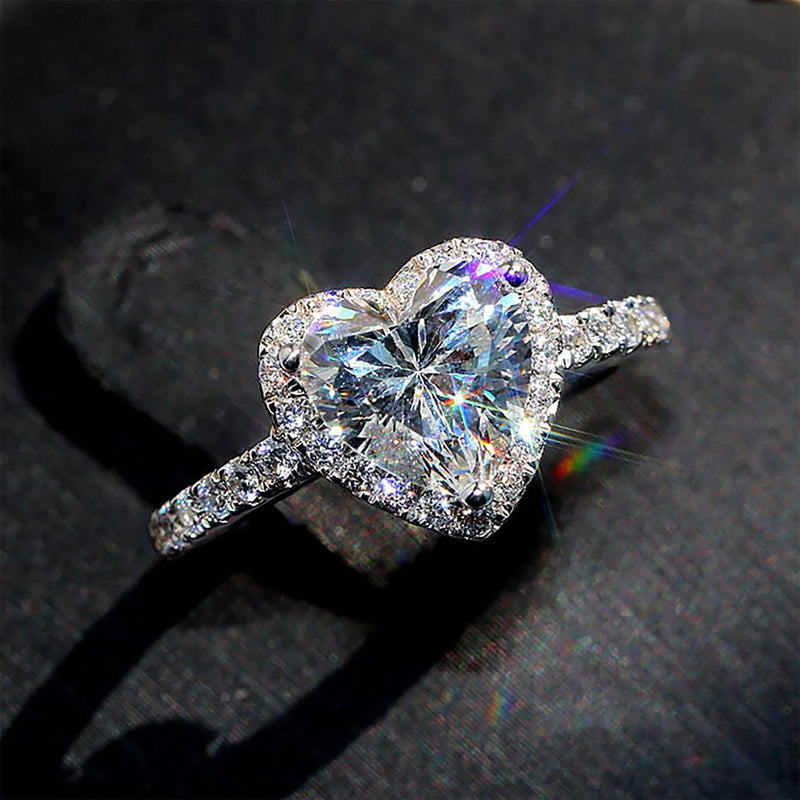 Cute Heart Ring Engagement Promise Graduation Wedding Rings Crystal Diamond Fashion Statement Jewelry (www.Jewolite.com) #rings