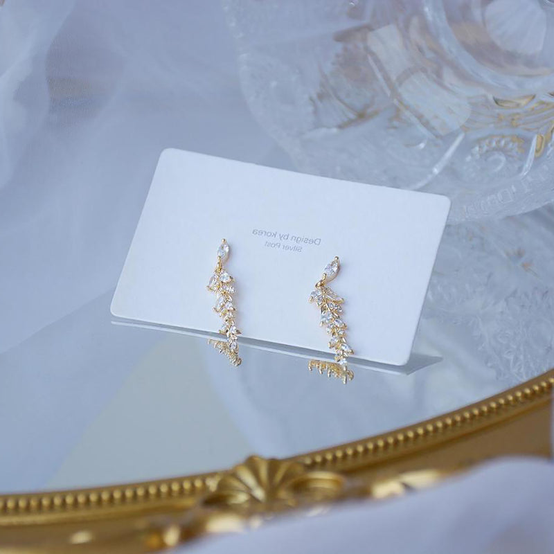 Cute Crystal Leaf Dangle Gold Drop Earrings Classy Fashion Jewelry for Women - www.Jewolite.com