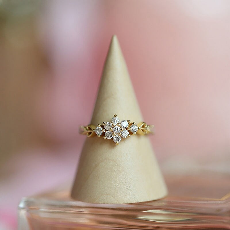 Cute Simple Vintage Flower Gold Promise Graduation Wedding Engagement Ring Women Fashion Jewelry - www.Jewolite.com #rings Edit alt text  Edit alt text