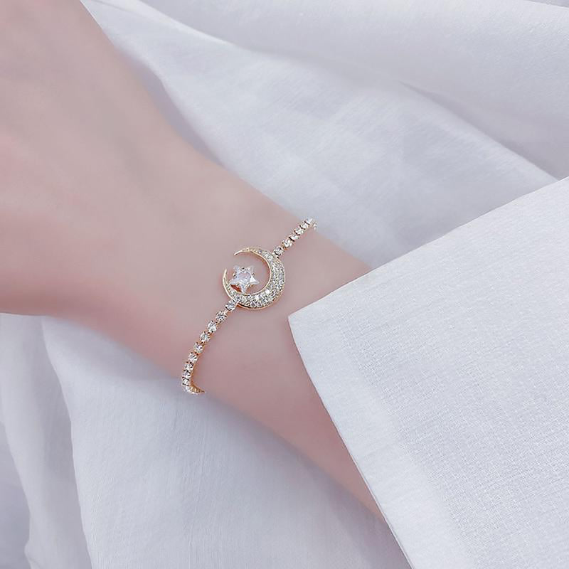 Cute Crystal Chain Moon Star Gold Chain Bracelet for Women -  pulsera de luna de cristal - www.Jewolite.com #bracelets