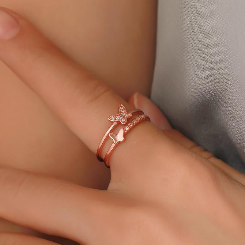 Cute rose gold butterfly ring trending feminine fashion jewelry - www.jewolite.com #rings  Edit alt text