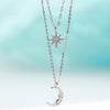 Oros Double Layered Star & Moon Silver Chain Choker Necklace